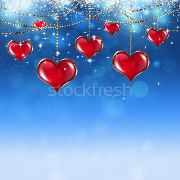 Foto stock: Valentine · vermelho · corações · macio · azul · estrelas