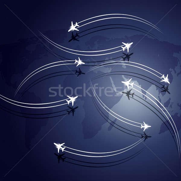 Absztrakt légi közlekedés üzlet repülőgépek repülés térkép Stock fotó © alexaldo