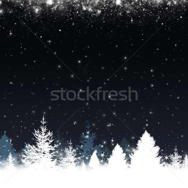 Tél hó erdő absztrakt karácsony fák Stock fotó © alexaldo