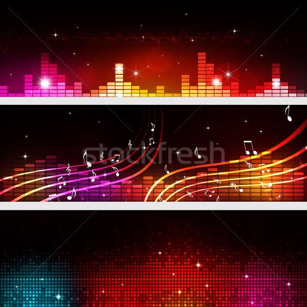 Música equalizador banners discoteca festa Foto stock © alexaldo