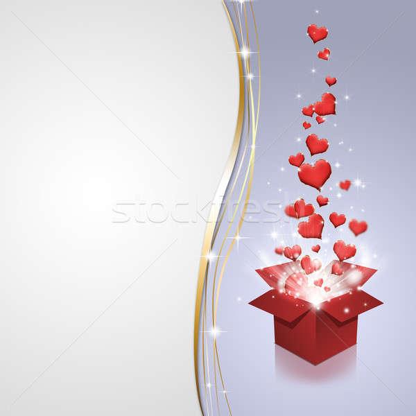 Stok fotoğraf: Büyü · kutu · kırmızı · kalpler · hediye · kutusu · uçan
