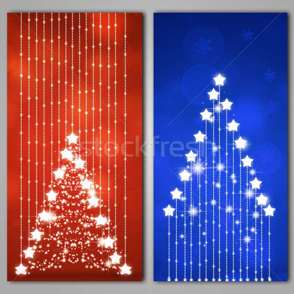 Absztrakt karácsony fa bannerek tél karácsony Stock fotó © alexaldo