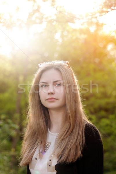 Cute девушки портрет молодые Солнечный Сток-фото © alexaldo