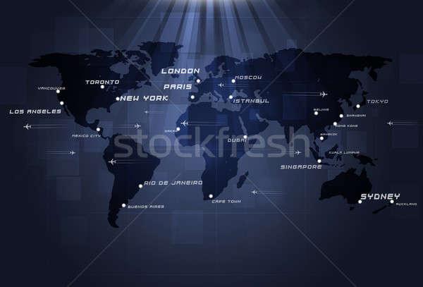 Világ légi közlekedés repülőgépek térkép város üzlet Stock fotó © alexaldo