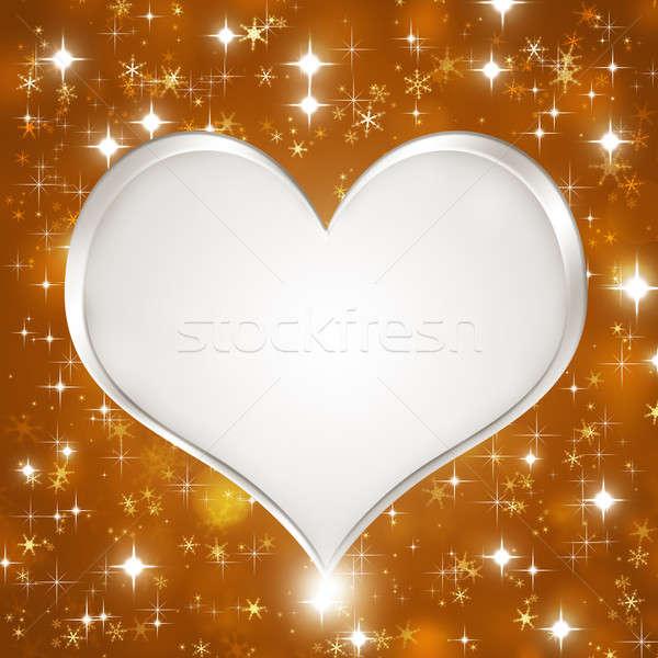 Stock photo: White Glitter Heart