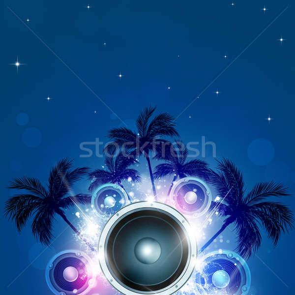 Nyár buli trópusi éjszaka zene pálmafák Stock fotó © alexaldo