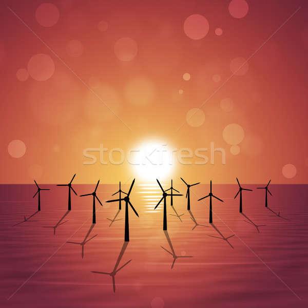 Wind Turbines at Sea Stock photo © alexaldo