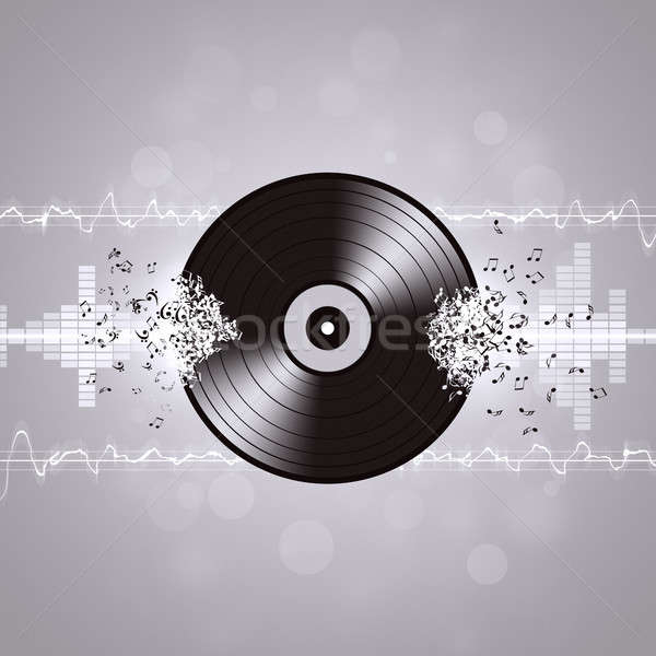 Black and White Vinyl Music Background Stock photo © alexaldo