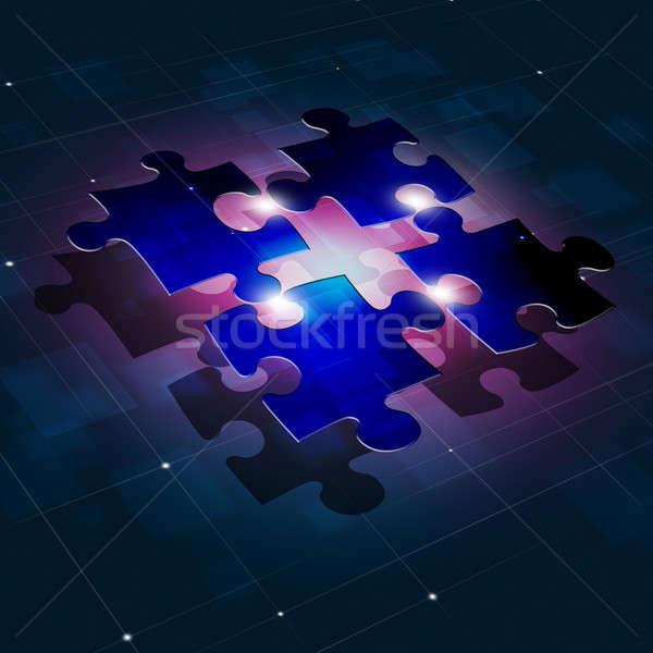 Puzzle kapcsolat üzlet absztrakt kapcsolatok kék Stock fotó © alexaldo