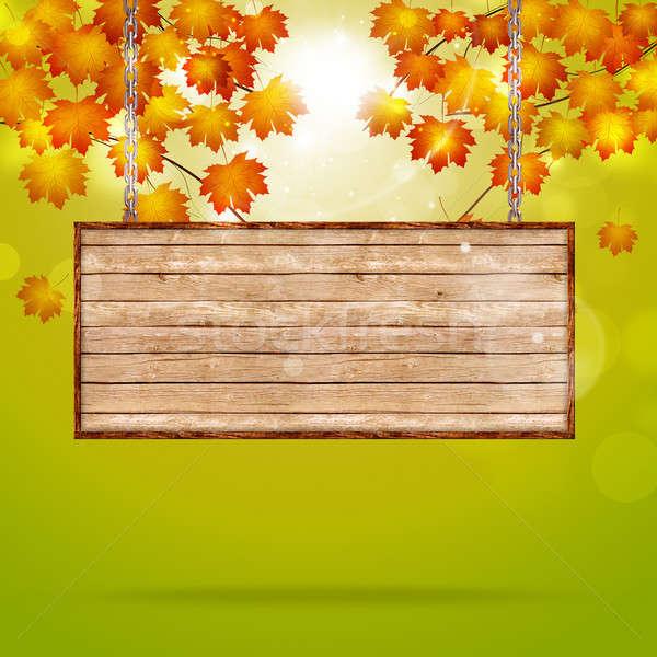 Fa figyelmeztetés ősz absztrakt fényes nap Stock fotó © alexaldo