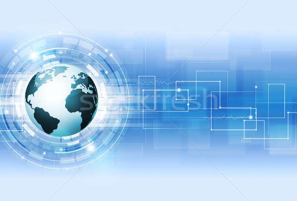 Absztrakt digitális technológia kék technológia digitális világ Stock fotó © alexaldo