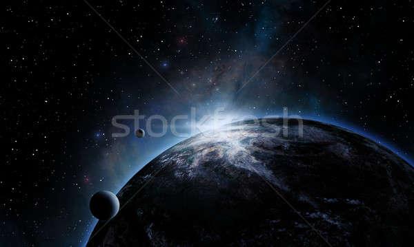 Bolygó űr fogyatkozás nap fantázia univerzum Stock fotó © alexaldo