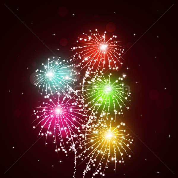 Lumineuses feux d'artifice montrent vacances célébration pyrotechnie Photo stock © alexaldo