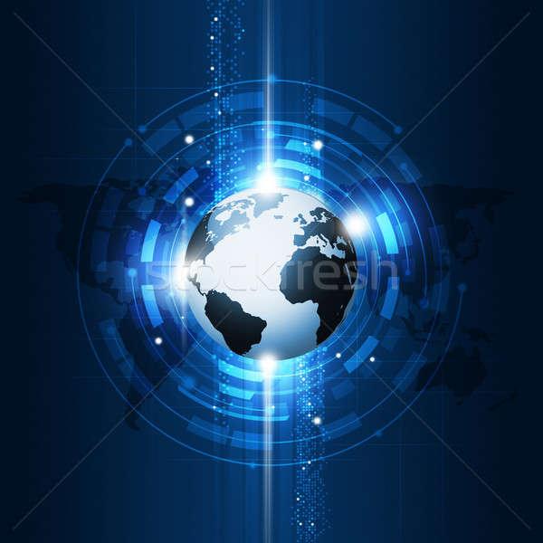 Comunicazione globale tecnologia abstract business globale comunicazione blu Foto d'archivio © alexaldo