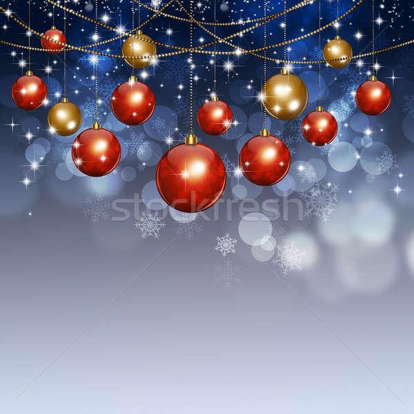 Holiday Xmas Balls Winter Background Stock photo © alexaldo