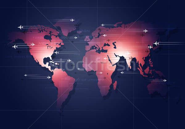 Globális légi közlekedés üzleti háttér irányok összes világ Stock fotó © alexaldo