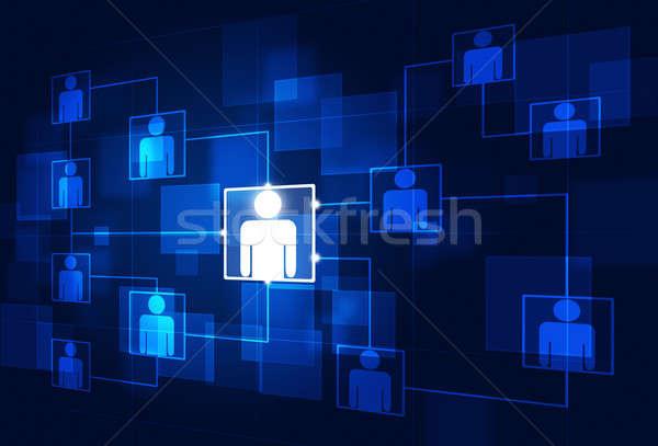 Comunicação fluxograma diagrama azul negócio tecnologia Foto stock © alexaldo
