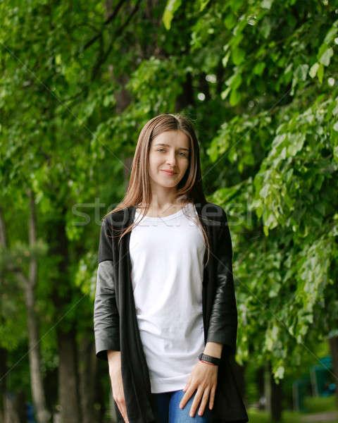 Pretty Girl in Green Park Stock photo © alexaldo