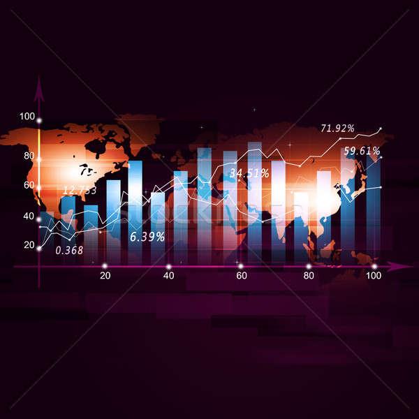 Финансы диаграмма рынке складе Мир карта красный Сток-фото © alexaldo