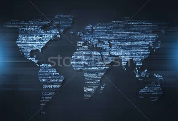 Háló kódolás térkép digitális világtérkép biztonság Stock fotó © alexaldo