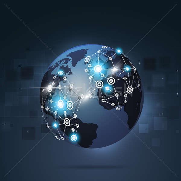 Global Internet Verbindungen Blau Business