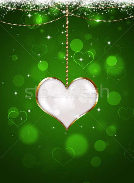 Valentin nap ünneplés fehér szív medál zöld Stock fotó © alexaldo