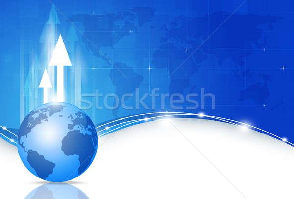 Globális üzlet kék absztrakt technológia internet világ Stock fotó © alexaldo