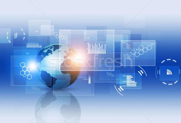 Digitális technológia interfész absztrakt üzlet technológia kommunikáció Stock fotó © alexaldo