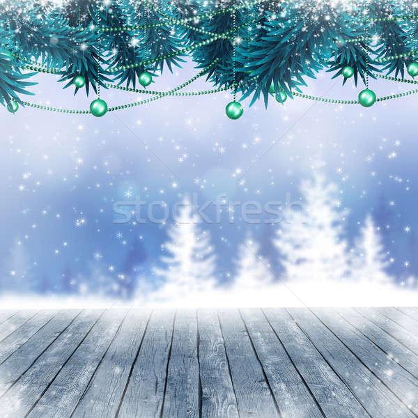 Snow Winter Blue Background Stock photo © alexaldo