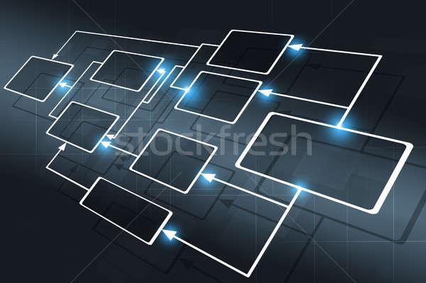 ビジネス フローチャート 抽象的な 暗い 技術 青 ストックフォト © alexaldo