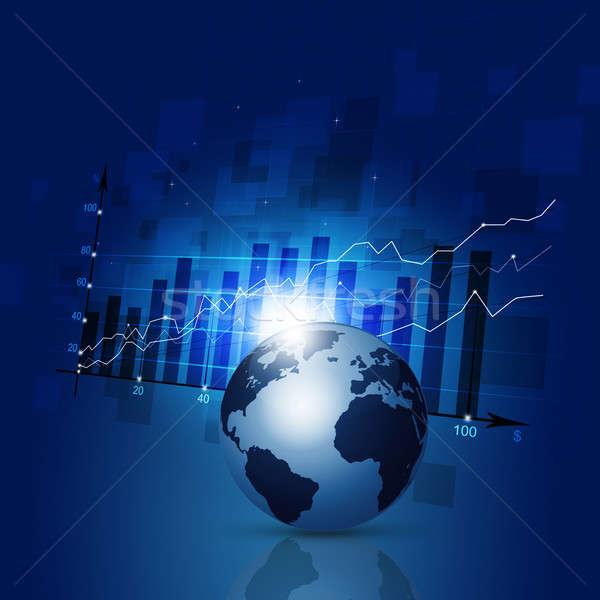 Financieren diagram business abstract wereldkaart Blauw Stockfoto © alexaldo