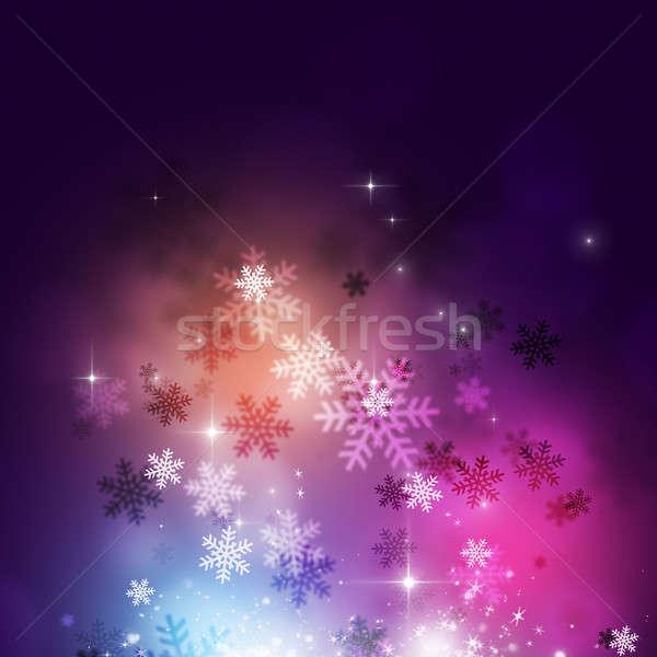 зима аннотация снега звезды праздник свет Сток-фото © alexaldo