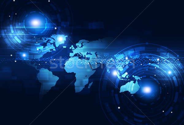 Tecnologia digitale blu digitale mondo business tecnologia Foto d'archivio © alexaldo