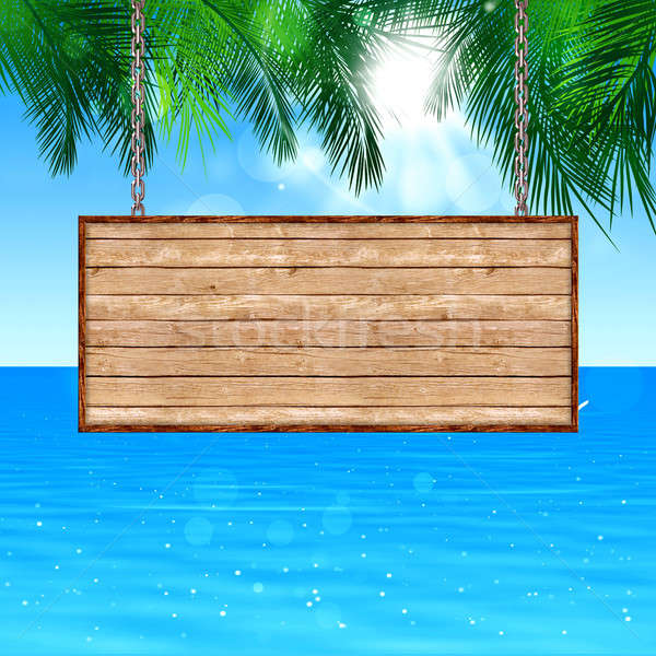 Wood Board Notice on Tropical Background Stock photo © alexaldo