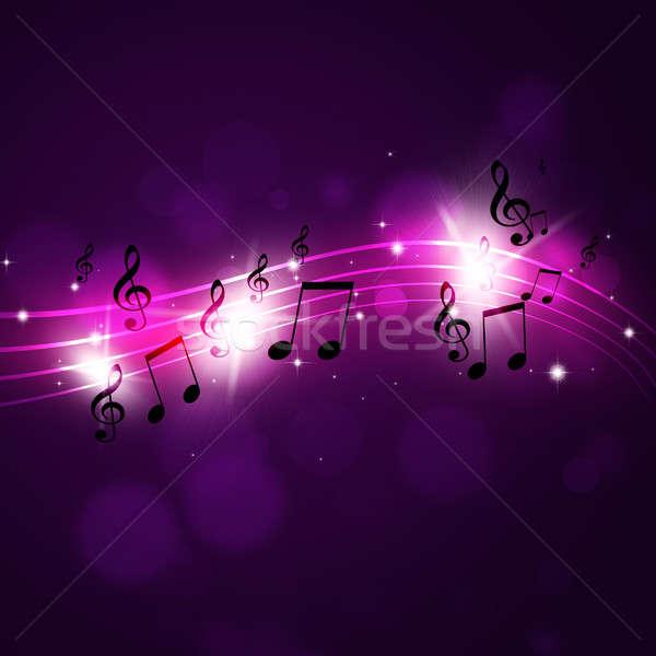 Siyah müzik notaları korkak soyut karanlık parti Stok fotoğraf © alexaldo