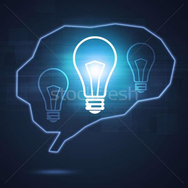 Emberi agy forma fényes lámpa absztrakt lámpák Stock fotó © alexaldo