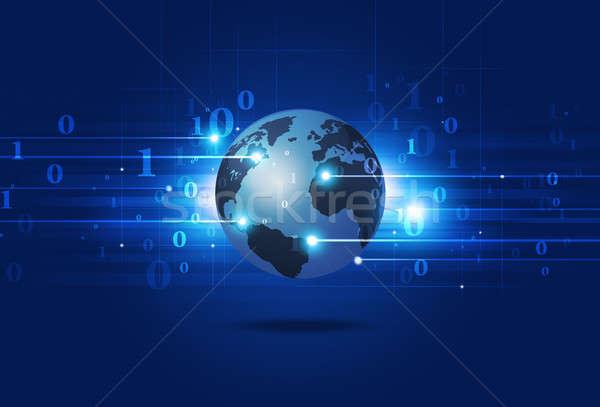 Código binario azul resumen tecnología mapa del mundo ordenador Foto stock © alexaldo
