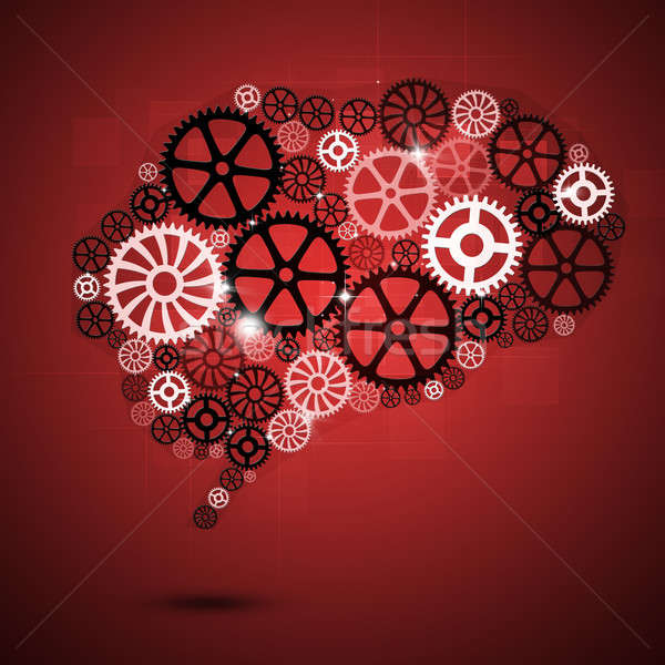 Cérebro humano forma engrenagens vermelho negócio abstrato Foto stock © alexaldo