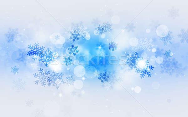 Mavi tatil kar soyut kar taneleri Stok fotoğraf © alexaldo