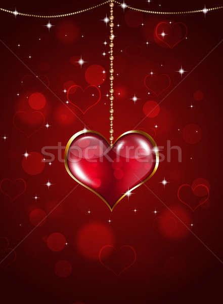 Piros Valentin nap ünnep szív medál csillagok Stock fotó © alexaldo