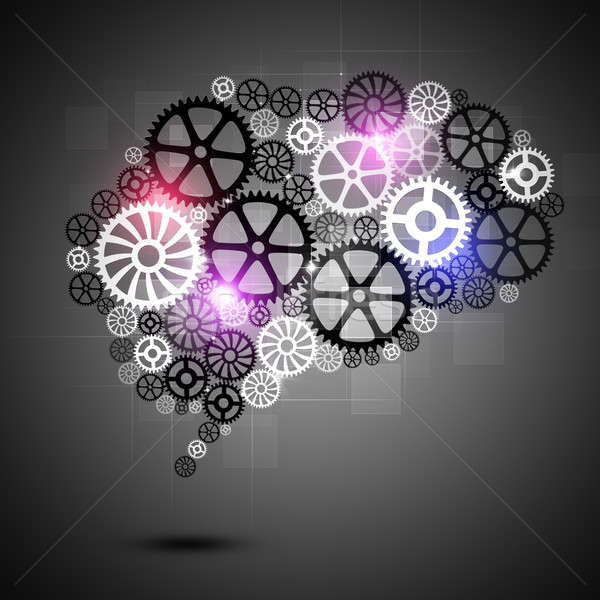 Emberi agy forma sebességváltó üzlet absztrakt technológia Stock fotó © alexaldo