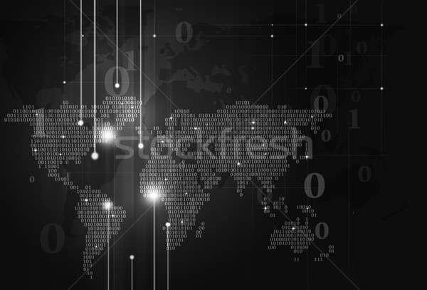 Código binario mapa oscuro resumen tecnología mapa del mundo Foto stock © alexaldo