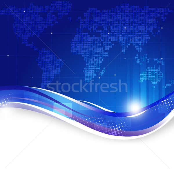 двоичный код карта синий аннотация Мир карта технологий Сток-фото © alexaldo
