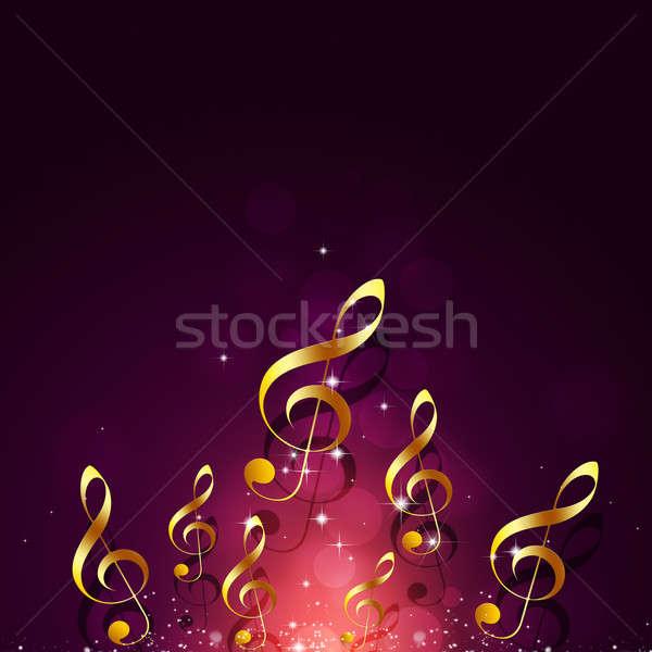 Foto stock: Brillante · dorado · notas · musicales · resumen · rojo · música