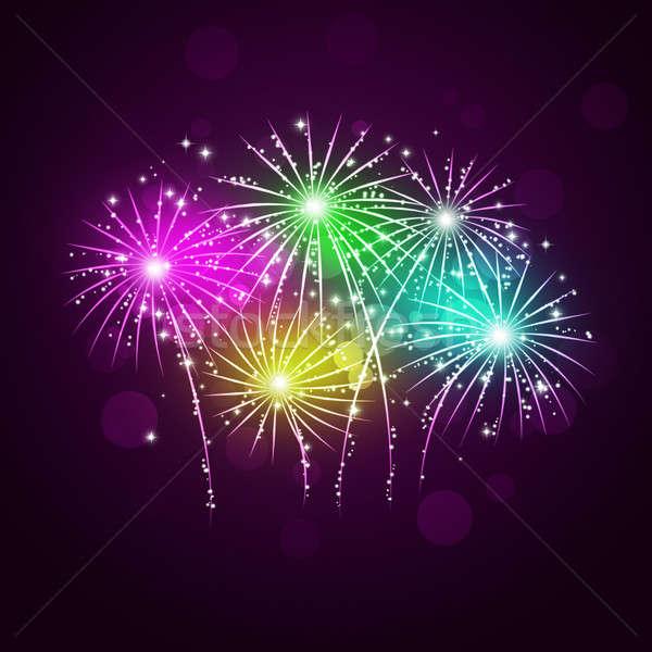 Pyrotechnie montrent lumineuses célébration nuit lumière Photo stock © alexaldo
