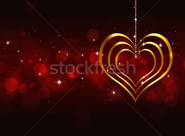 Stock photo: Golden Heart Valentine Red Background