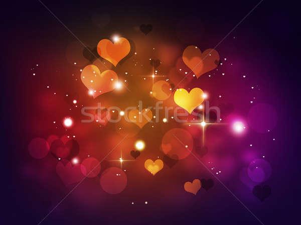 Mavi kalpler soyut bokeh ışıklar sevmek Stok fotoğraf © alexaldo