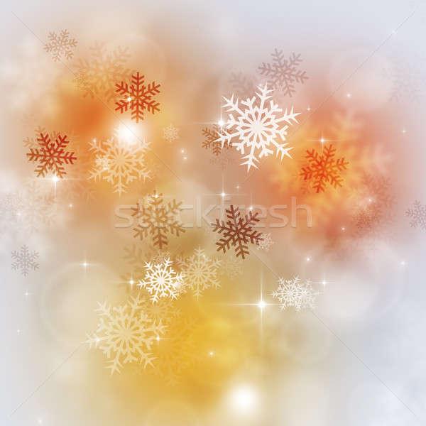 Parlak kar noel kar taneleri ışıklar Stok fotoğraf © alexaldo