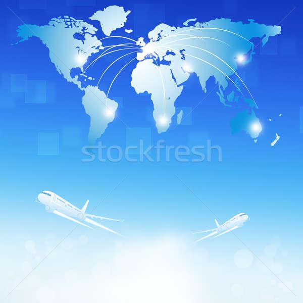 Világ légi utazás célpontok üzlet illusztráció térkép Stock fotó © alexaldo