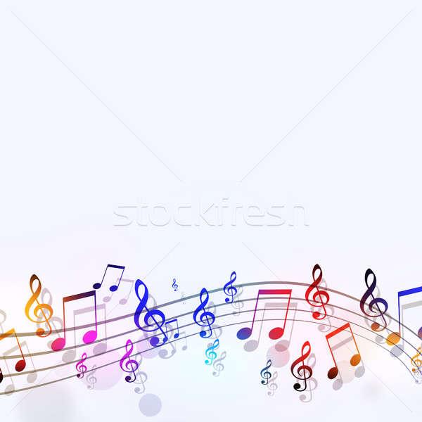 Foto stock: Música · notas · resumen · brillante · notas · musicales · fiesta